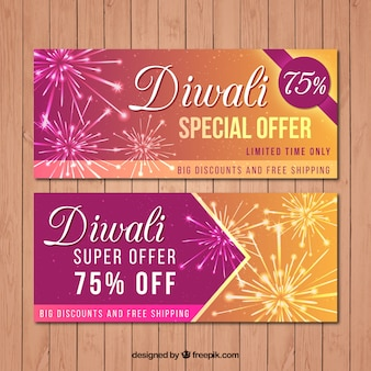 Diwali sale banners with fireworks