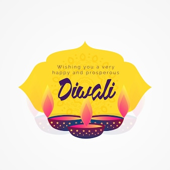 Diwali wishes greeting card design with diya