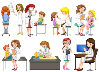 Doctors and patient at clinic illustration