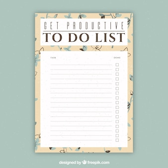 Document template to write things to do