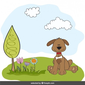 Dog in countryside illustration