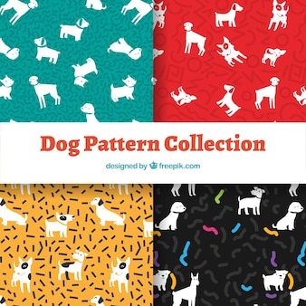 Dog pattern collection in four colors