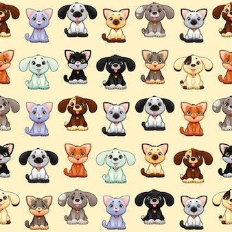 Dogs and cats, pattern