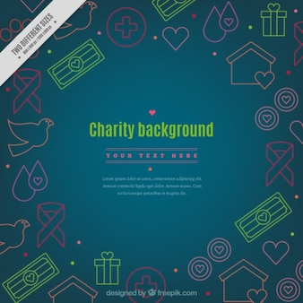 Donation background with colored drawings