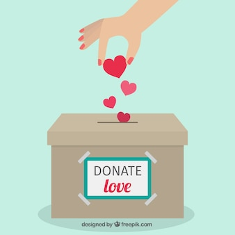 Donation box flat background