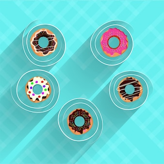 Donuts on skyblue background.