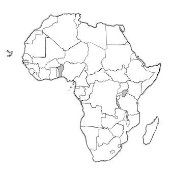 アフリカ地図をぬいぐるみ