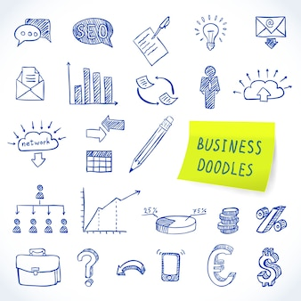Doodle business set of finance economy marketing decorative icons isolated vector illustration