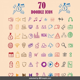 Doodle colorful icons collection