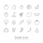 Doodle Fruits And Vegetable Icons