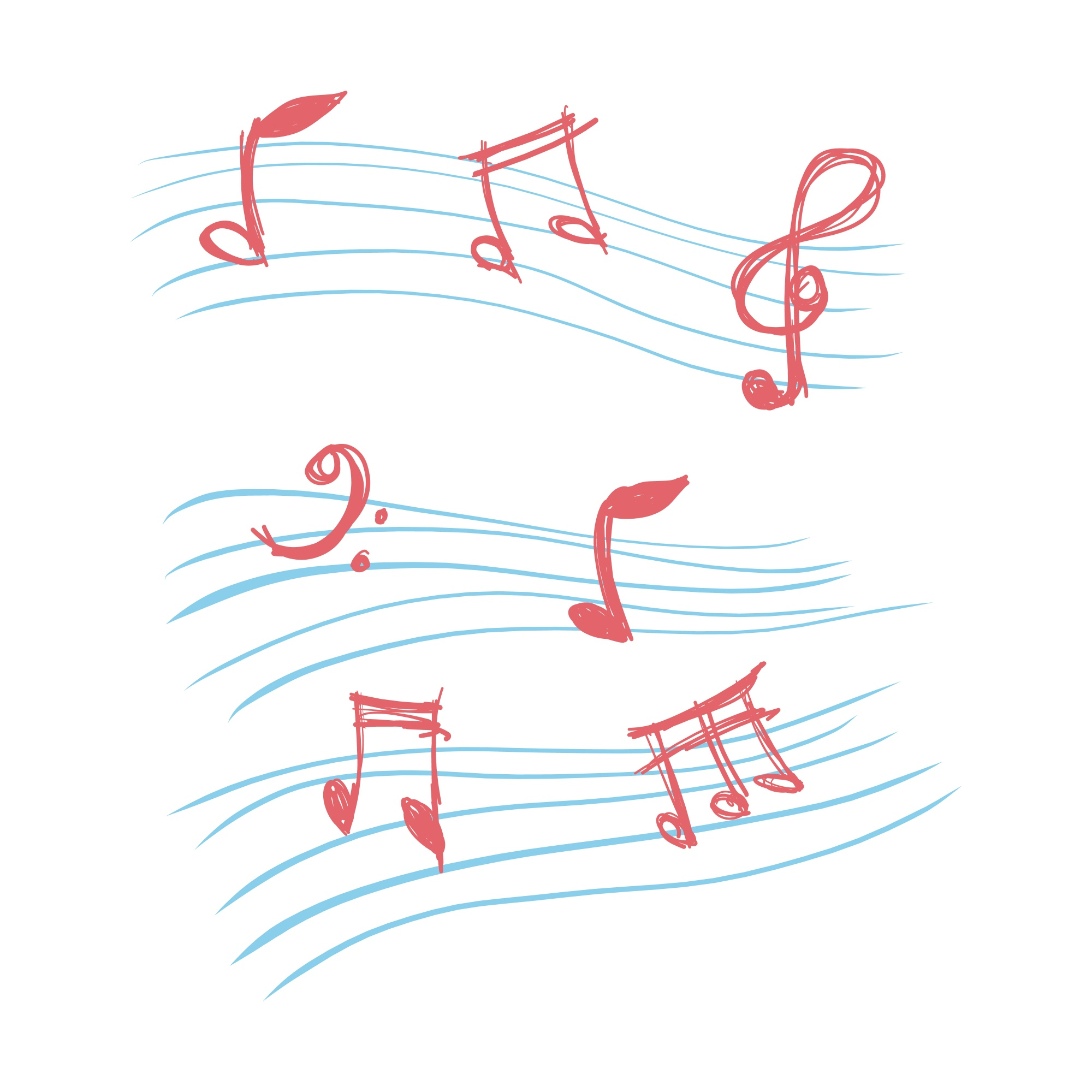 Doodle music notes