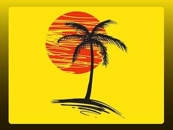 doodle palm over sun