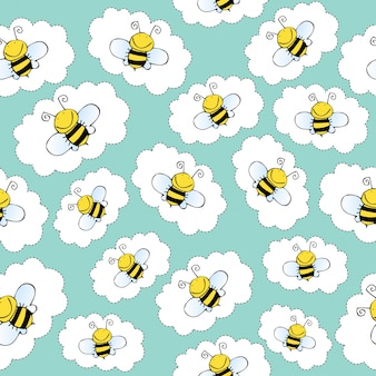 Doodle seamless pattern with bees