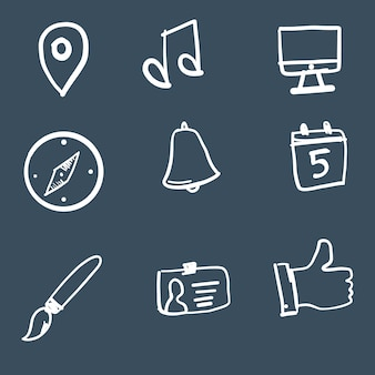 Doodle technology icon collection