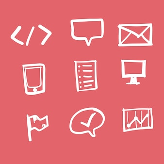 Doodle technology icon set