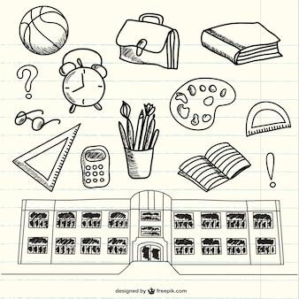 Doodles of school supplies on notebook