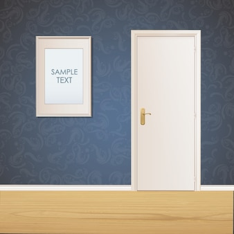 Door and frame on wall background