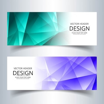 Dos banners poligonales, turquesa y púrpura