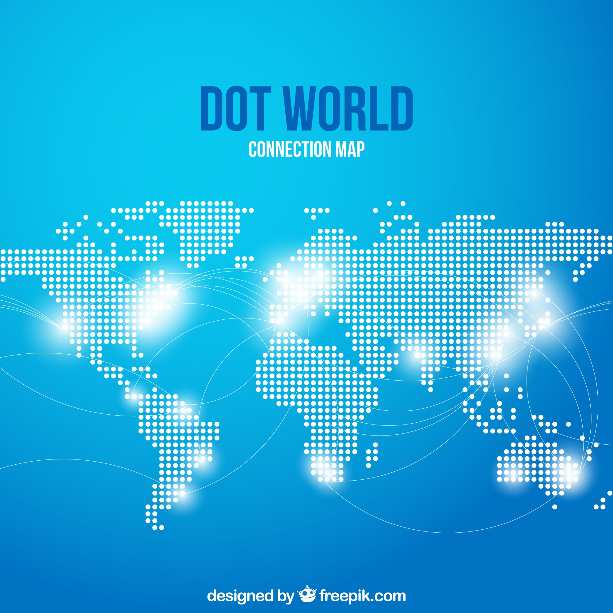 Dot world conection map with blue background