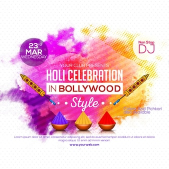 Dotted background with colorful shapes for holi festival