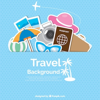 Dotted background with colorful travel objects