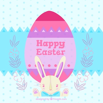 Dotted background with egg and bunny for easter day