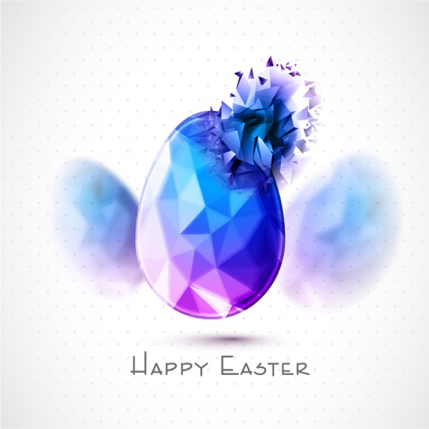 Dotted background with polygonal egg for easter day
