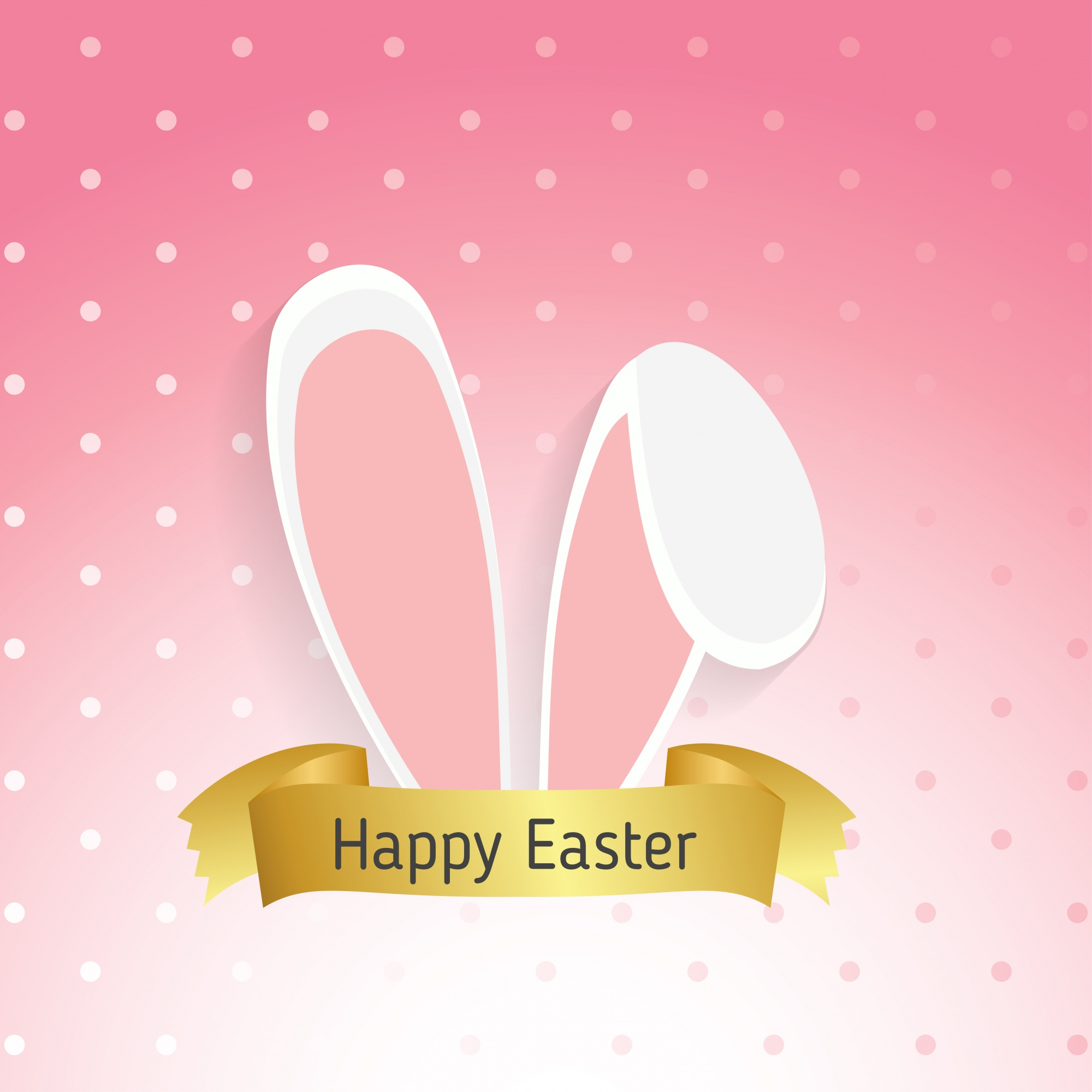 Dotted background with rabbit ears for easter