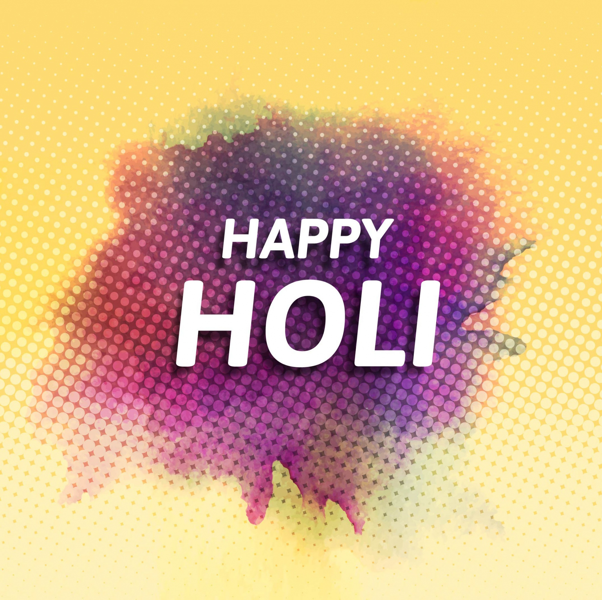 Dotted background with watercolors for holi festival