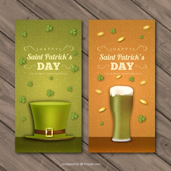 Dotted banners with st patrick's day representative items