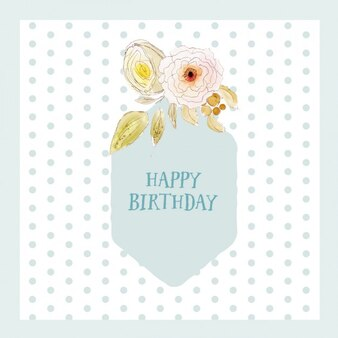 Dotted birthday card with watercolor flowers