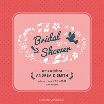 Dotted bridal shower invitation with floral decoration