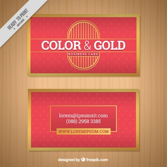 Dotted business card with golden frame