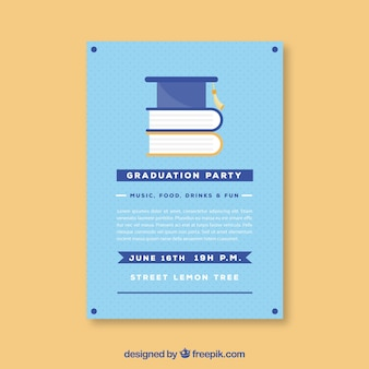 Dotted graduation party flyer with books in flat design