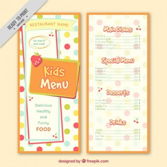 Dotted kids menu template