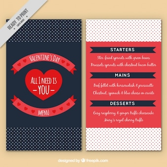 Dotted menu template for valentine's day
