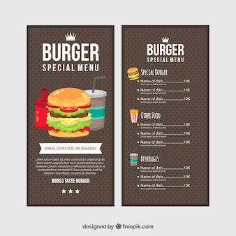 Dotted menu template of fast food