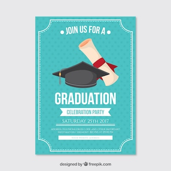 Dotted party poster with graduation cap and diploma