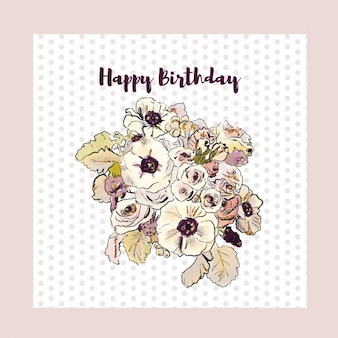 Dotted pink birthday card with flowers