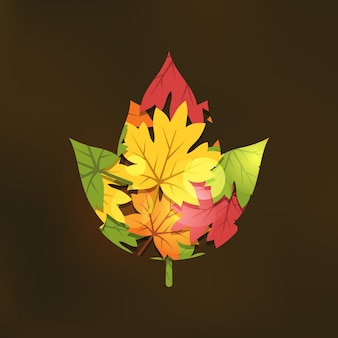 Double exposure autumn illustration in flat style