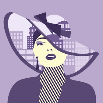 Double exposure illustration Woman with city in her hat