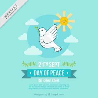 Dove in the sky background for peace day