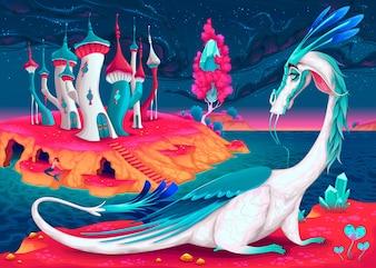 Dragon in a fantasy world