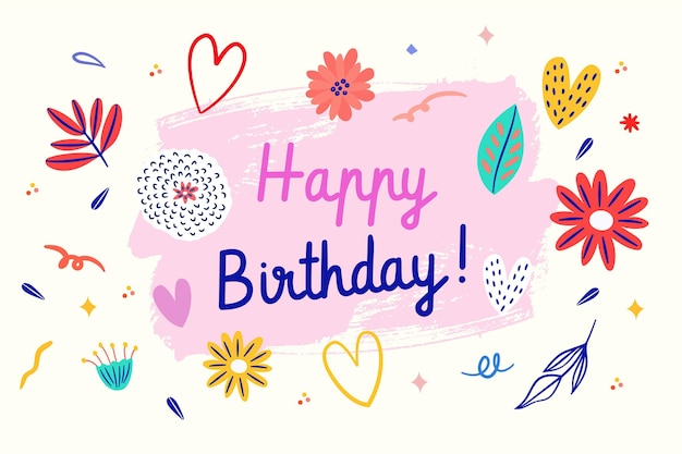 Drawn birthday background with cute illustrations