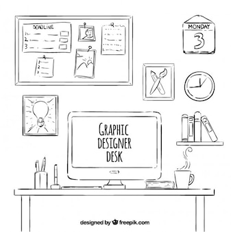 Drawn Graphic Designer Desk Collection