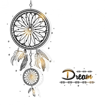 Dreamcatcher background with golden details
