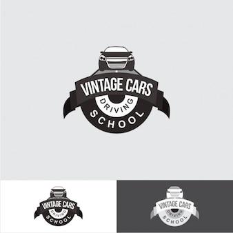 Driving school logo in vintage style