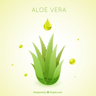 Drops and aloe vera background