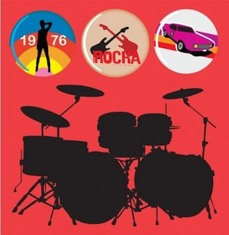 Drums silhouette black and red rock style