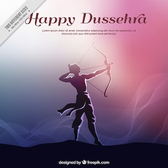 Dussehra background with rama silhouette and bow